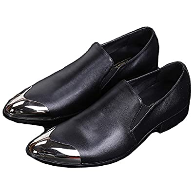 Cover Plus Size 5-12 Black Genuine Leather Steel Pointed Toe Dress Loafers Slip On Mens Shoes