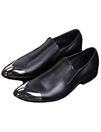 US Size 5-12 New Solid Black Leather Mens Dress Slip On Steel Toe Loafers Shoes
