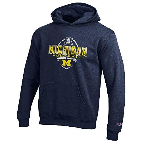 Youth Michigan Wolverines Football Powerblend Screened Hoodie Sweatshirt (10-12)
