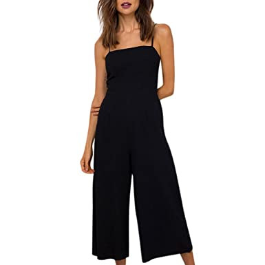 53e9fb39a823 Jumpsuit Womens Jamicy Summer Strap Holiday Casual Wide Leg Pants Palysuit  (S