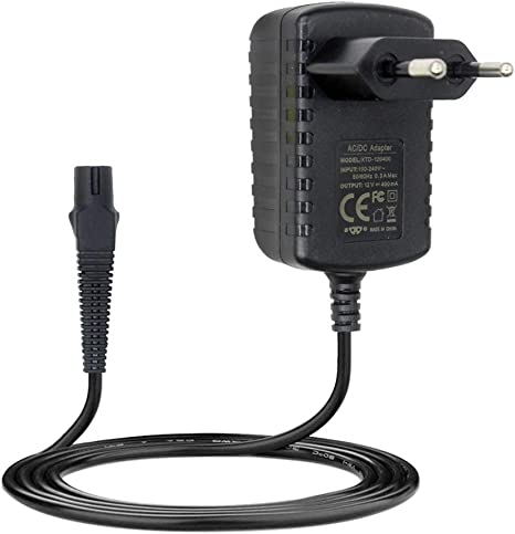 Chargeur Rasoir électrique Braun 12V AC Adaptateur Secteur Alimentation pour Braun Z20 Z30 Z40,1.2m(Noir)