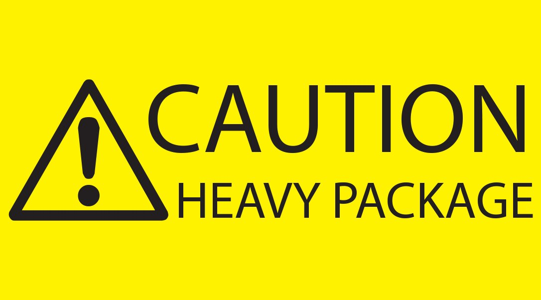 1 x Roll Caution Heavy Package Printed Parcel Self Adhesive Labels 500 per roll (Label size 89 x 48mm) Glue Galore