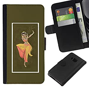 Be-Star la tarjeta de Crédito Slots PU Funda de cuero Monedero caso cubierta de piel Para HTC One M9 ( Indian Woman Dress Dance Attire Pose Sign )