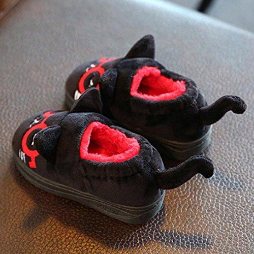 Baby Schuhe Huhu833 Niedliche Kleinkind Baby Mädchen Plüsch Weiche Sohle rutschfeste Warme Samt Schneeschuhe Schwarz