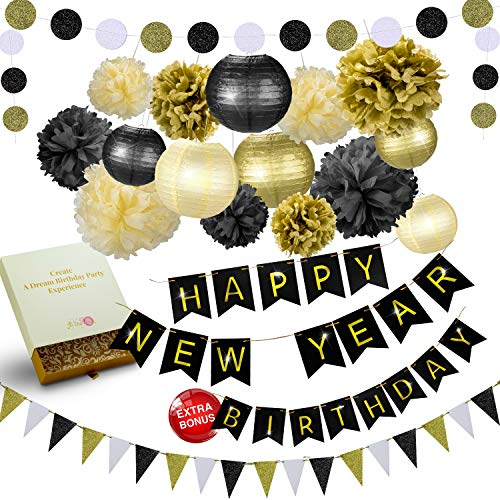 New Triangle (31 Pcs of Black Gold and Cream Birthday and New Years Eve Party Decoration Set Pompom Lanterns Polka Dot Triangle Garland Banner (Black))