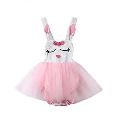 ba79387b8b2b Newborn Infant Baby Girls Bunny Easter Bodysuit Halter Sleeveless Romper Tutu  Dress Summer Clothes 0-