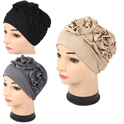 Luckystaryuan Lucky staryuan Cyber Monday 3Pack Womens Chemo Hat Beanie Turban Headwear for Cancer Patients (Style 1)
