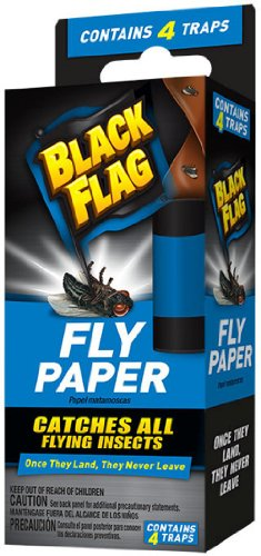 Sticky Fly (Black Flag Fly Paper Insect Trap, 4-Count)