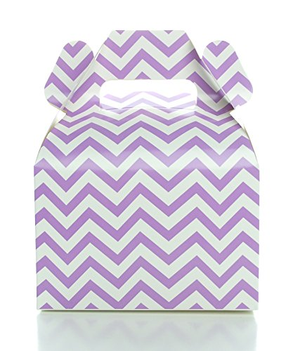 Purple Lavender Wedding Favor Boxes, Light Purple Chevron Zig-Zag Gable Box (12 Pack) - Mini Square Gift Boxes, Purple Party Supplies - Candy Box, Gift Box, Gable Boxes, Favor Box, (Purple Themed Candy Buffet)