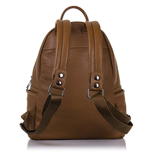 FIRENZE ARTEGIANI.Mochila de mujer casual piel auténtica.Bolso mochila cuero genuino bovino. Tacto suave.Mochila A4 con bolsilo frontal.MADE IN ITALY.VERA PELLE ITALIANA.29x34x14,5cm.Color:CUERO