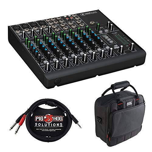 Mackie 1202VLZ4 12-Channel Compact Mixer with G-MIXERBAG-1212 Padded Nylon Mixer/Equipment Bag & PB-S3410 3.5 mm Stereo Breakout Cable, 10 feet Bundle