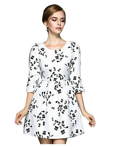 PU&PU Robe Aux femmes Trapèze Simple,Imprimé Col Arrondi Au dessus du genou Polyester , white-l , white-l