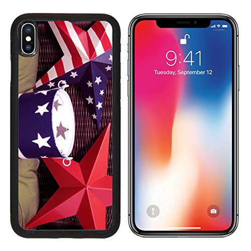 MSD Premium Apple iPhone X Aluminum Backplate Bumper Snap Case IMAGE ID: 7168763 4th of July stars and (Constitution Bowl)