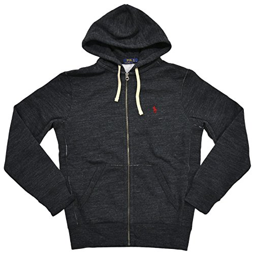 Polo Ralph Lauren Mens Classic Full-Zip Fleece Hoodie (Black Heather, Large)