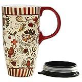 CEDAR HOME Travel Coffee Ceramic Mug Porcelain Latte Tea Cup With Lid 17oz. Floral Symphony