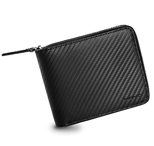 EGNT Mens Carbon Zip Around Wallet with RFID ID Card Window Secure Zipper Bifold (All In One) ()