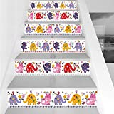 Stair Stickers Wall Stickers,6 PCS Self-Adhesive,Nursery,Cute Elephants Happy Dancing Animals in Various Color Combinations Birds Flowers,Multicolor,Stair Riser Decal for Living Room, Hall, Kids Room