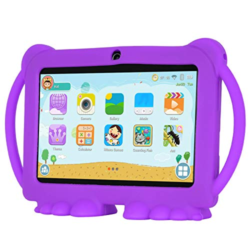 Xgody T702 7 Inch HD Kids Tablet PC for Kids Quad Core Android 8.1 16GB ROM 1GB RAM Touch Screen with WiFi Pre-Loaded 3D Game Dual Camera Purple
