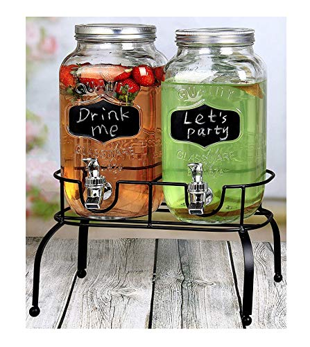 Estilo EST3095 Embo Glass Mason Jar Double Drink Dispenser for sale  Delivered anywhere in Canada
