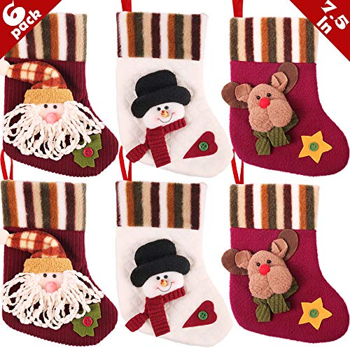 Homemade Stocking Christmas - PartyBus 7.5 Inch Mini Christmas Stockings 6 Pack, 3D Small Felt Corduroy Quilted Xmas Tree Decorations Bulk, Gift Card Holders Cash Bags Holiday Treats for Family Coworkers Neighbors Kids Dogs Cats