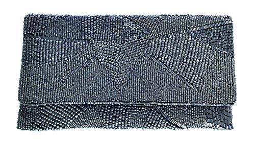 Beaded Over Fold Clutch (From Saint Xavier Women's Alexia Clutch Gunmetal)