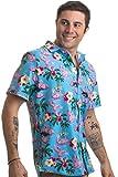 Ann Arbor T-shirt Co. Naughty Flamingo   Funny Drinking Sex Party Hawaiian Button Down Polo Shirt Men