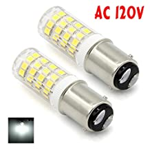 McDen® Ba15d Dimmable LED Light Bulb Double Contact Bayonet Base 120 Volts T3/T4/C7/S6 LED Halogen Replacement Bulb, Pack of 2 (Daylight White 6000K, 5 Watt)