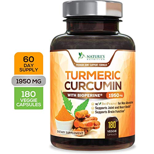 (Turmeric Curcumin Max Potency 95% Curcuminoids 1950mg with Bioperine Black Pepper for Best Absorption, Anti-Inflammatory Joint Relief, Turmeric Supplement Pills by Natures Nutrition - 180)