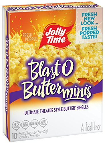 Mini Microwave Popcorn (Jolly Time Blast O Butter Movie Theater Microwave Popcorn Single Portion Mini Bags, 10-Count Boxes, 15 oz (Pack of 3))