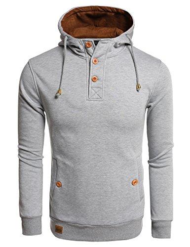 COOFANDY Octopus Print Hoodies Sport Hooded Sweatshirts Fashion Pullover Hoodie (XXL, Grey-2)