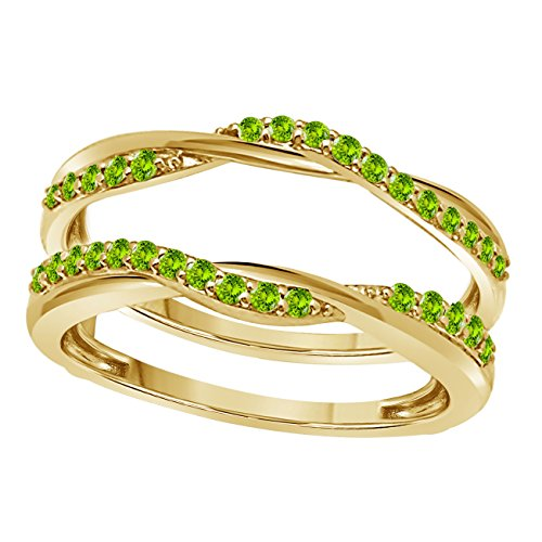 Gems and Jewels 14K Yellow Gold Plated Criss Cross Infinity Ring Guard Enhancer set with CZ Green Peridot 1/2 Ct