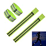 Fantaseal® High Reflective Safety Belt High Visibility Elastic Sports Wearable Bands Ankle Bands Armbands Wristband Sweatband Wrist Wrap Leg Strap Belt Reflective Fabric Tape Safety Sports Brace for Walking Jogging Running Cycling Sports & Outdoor Activity Gear- (4 Pack, 31 cm / 12 inch *2 + 37 cm / 14 inch*2 , Green )