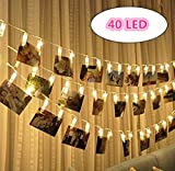 Emwel LED Photo Clip String Lights - 40 Photo Clips 4.5M USB Powered LED Christmas Fairy Lights Wall Decoration for Hanging Pictures Notes Artwork Cards Painting and etc(Warm White)