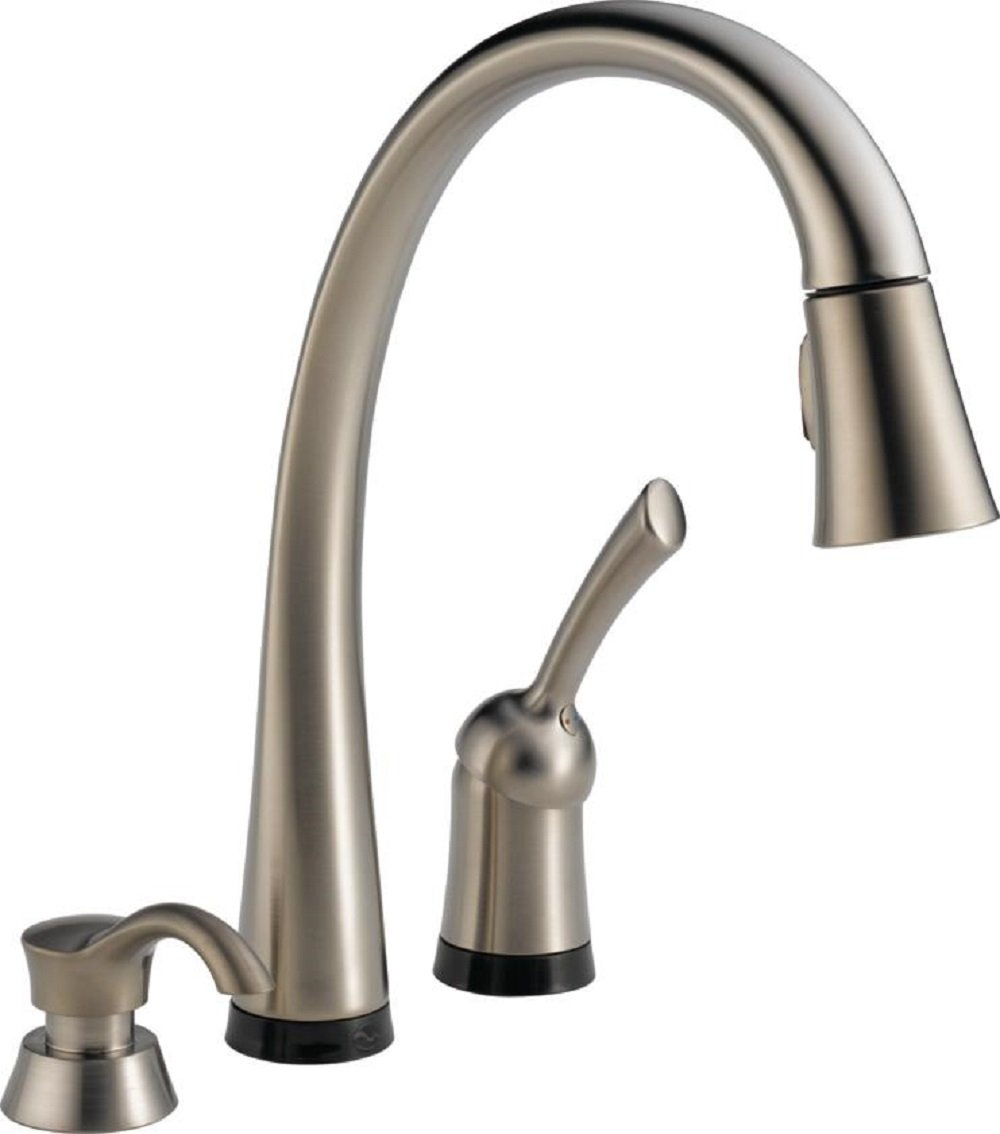 Delta 980T-SSSD-DST Pilar Single Handle Pull-Down Kitchen Faucet with Touch2O Technology and Soap Dispenser, Stainless