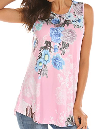 Tobrief Women Sleeveless Floral Print Swing Tunic Tank Tops (Pink, XXL)