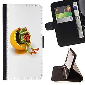 For Samsung Galaxy A3 Case , Amarillo Muebles Pensador Rana Blanca- la tarjeta de Crédito Slots PU Funda de cuero Monedero caso cubierta de piel