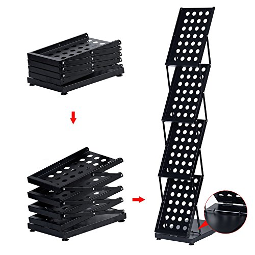 - Do4U Foldable Pop-up Folding Display 4 Pockets Magazine Literature Brochure Catalog Holder Rack Stand with Portable Oxford Case for Office and Tradeshow Display (Black, 4-Pocket)