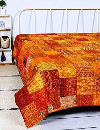 Indian Blanket Kantha Throw Coverlet Kantha Bedspread Vintage Patchwork King Size Home Decorative Kantha Reversible Quilt