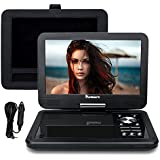 NAVISKAUTO 10.1 Inch HD Screen Portable DVD/CD Player USB/SD Card Reader with 5 Hour Built-In Rechargeable Battery, 270° Swivel Screen, 3m AC/DC Adapter and Customized Car Headrest Mount Case-Black