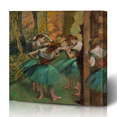Ahawoso Canvas Prints Wall Art 12x12 Inches Ballet Brown Painting Dancers Pink Green by Edgar French Degas Orange Impressionist Years Old Design Decor for Living Room Office Bedroom