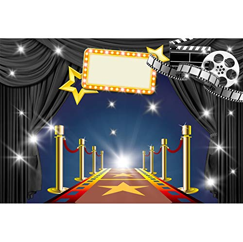 AOFOTO 9x6ft Hollywood Movie Premiere Backdrop Stars Celebrity Red Carpet Bannister Glitter Spotlight Roll Film Black Curtain Background for Photography Photo Studio Props Vinyl