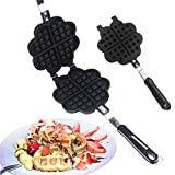 KEHUASHINA Aluminum Double Heart Shaped Stove Top Waffle Maker Waffle Iron Griddle Pan (4 Slice Heart-Shaped Plate) Gas Stove