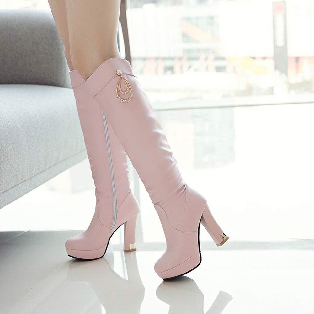 Aisun Damen Elegant Elegant Elegant Braut Plateau Strass Westernabsatz High Heel Langschaft Stiefel Mit Reißverschluss 3a5f22