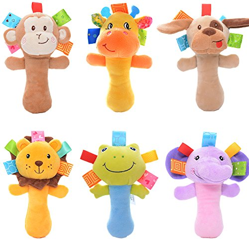 Lazada Cartoon Stuffed Animal Baby Soft Plush Hand Rattle Toys Infant Dolls 2 PCS Random (Stuffed Plush Rattle)