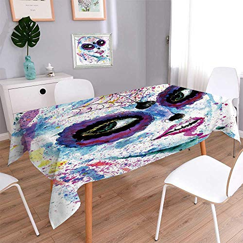 PINAFORE HOME Natural Tablecloth Halloween Girl with Sugar Skull Makeup Watercolor Multi Colors & Sizes/W52 x L70 Inch -