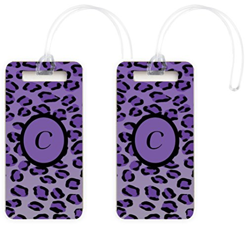 "Price comparison product image Rikki Knight Letter ""C"" Purple Leopard Print Monogrammed Design Luggage Identifier Tags (Set of 2)"