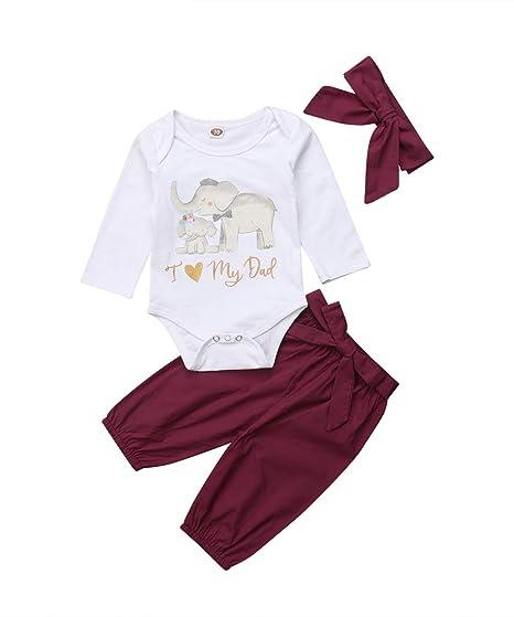 9b91c154b Amazon.com  Newborn Kids Baby Girls Love Dad Mom Romper Tops Wine ...
