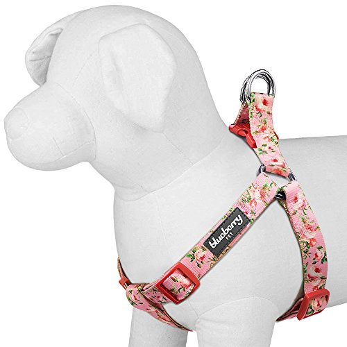 "Blueberry Pet Step-in Spring Scent Inspired Floral Rose Baby Pink Dog Harness, Chest Girth 15.5"" - 19.5"", XS/S, Adjustable Harnesses for Dogs"