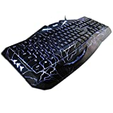 HUSOAR K-RAY K813 Natural Ergonomic Cool Crack Multi-Backlit Colors Wired Gaming Keyboard - Black