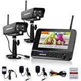 Annke Wireless Video Monitoring System with 7 LCD Screen and (2) 2.4GHz Digital Weatherproof Cameras with IR Night Vision LEDs, Indoor/Outdoor, Motion Detection